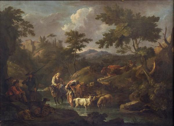 Carl Philipp Schallhas – Krajina s potokom a napájaním stáda