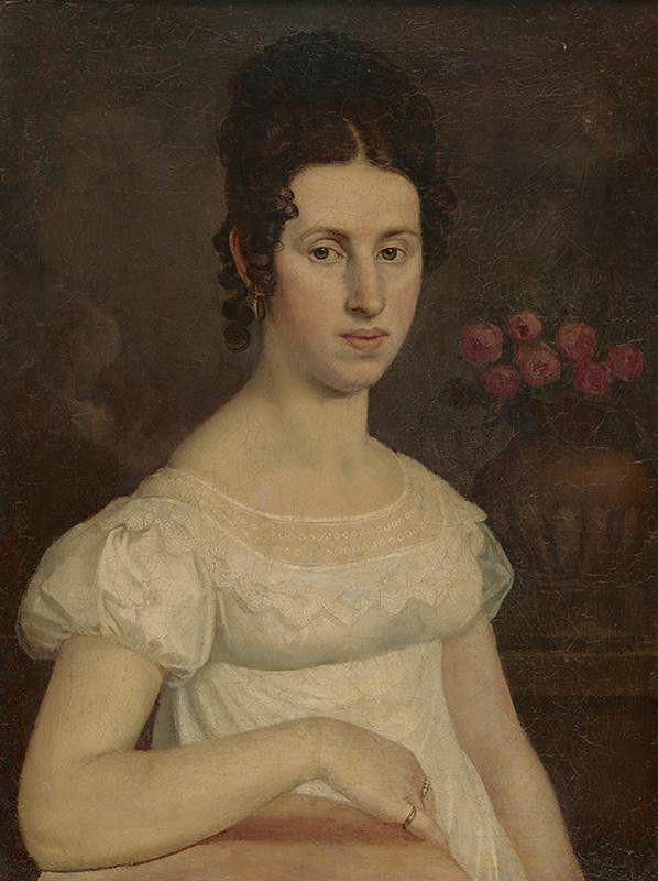 Stredoeurópsky autor z 1. polovice 19. storočia – Sediaca dáma v bielych šatách