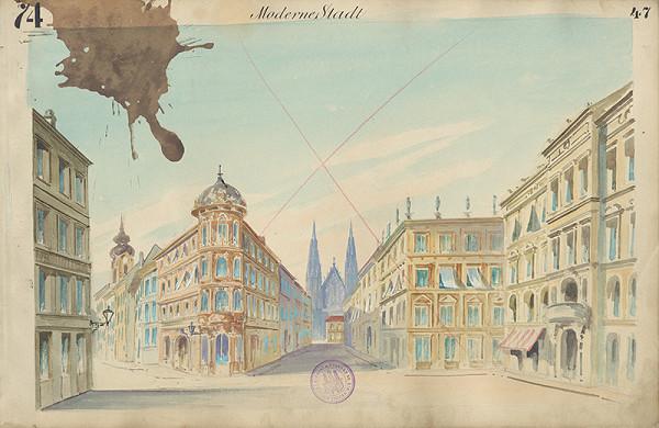 Gustáv Wintersteiner - Návrh na scénu 'Moderné mesto'