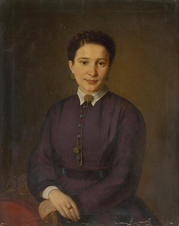 Stredoeurópsky maliar z 2. polovice 19. storočia - Portrét ženy vo fialových šatách