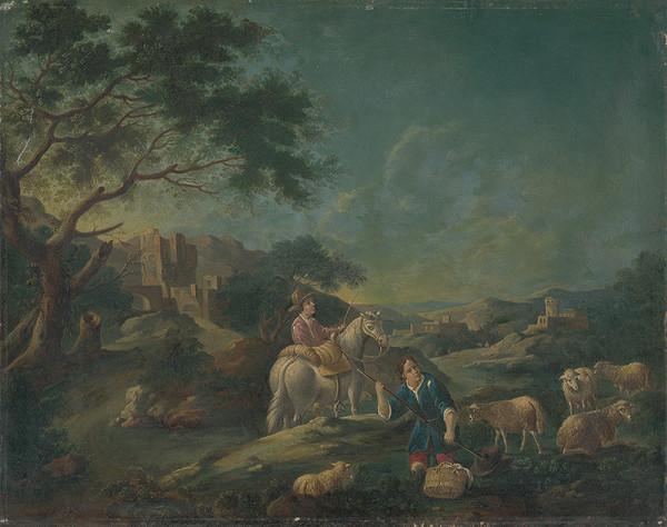 Talianský maliar z polovice 18. storočia, Stredoeurópsky maliar z 1. polovice 18. storočia - Krajina s pastiermi