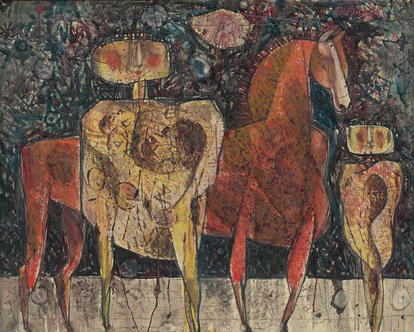 Rudolf Moško - Dve postavy s koňom