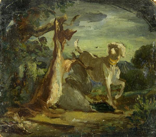 Constantin Guys – Krajinka s poľovníckym psom