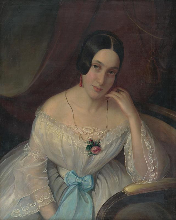 Constantin David Rosenthal - Portrét ženy s červenou náušnicou