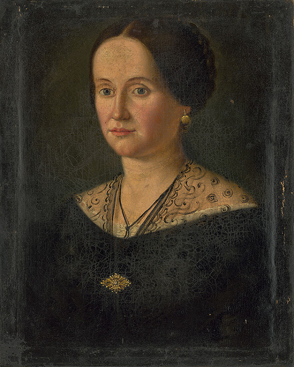 Stredoeurópsky maliar z 2. polovice 19. storočia - Portrét ženy so zlatou brošňou