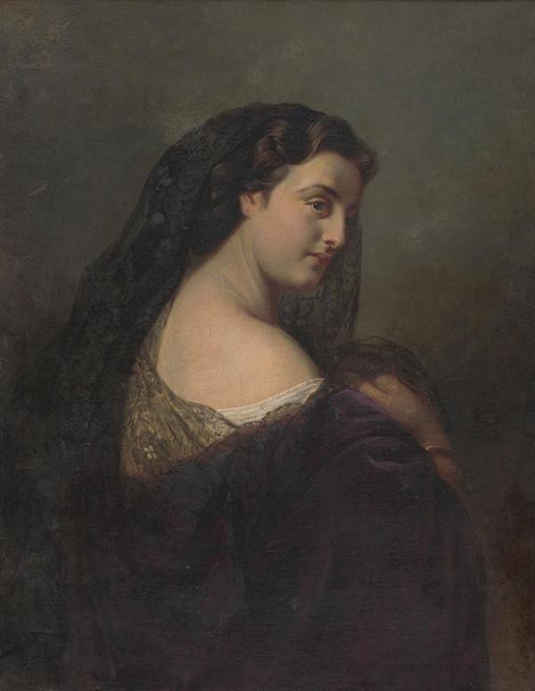 Stredoeurópsky autor z 2. polovice 19. storočia – Portrét ženy v čiernom závoji