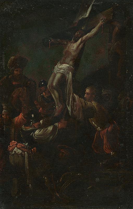 Stredoeurópsky maliar z 18. storočia - Dvíhanie Krista na kríži