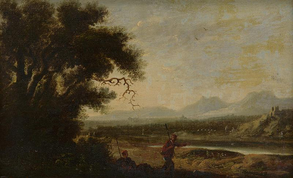 Holandský maliar z 18. storočia, Herman van Swanevelt - Pastieri v krajine so zrúcaninou