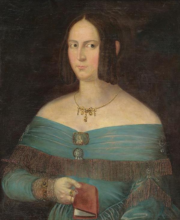 Frigyes Milec - Portrét ženy v modrých šatách