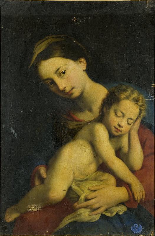 Stredoeurópsky autor z 19. storočia, Taliansky autor – Madona so spiacim dieťaťom