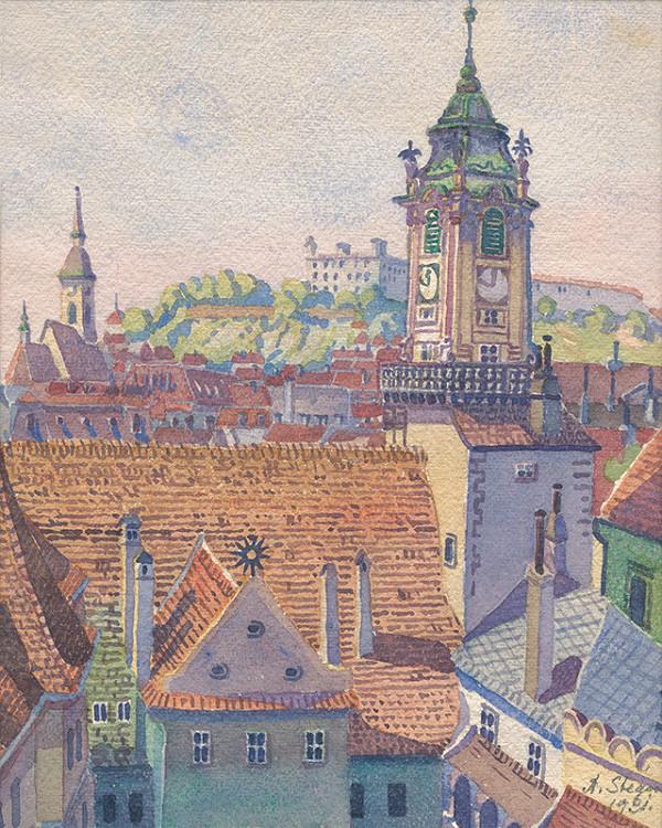 Anton Stéger - Pohľad na bratislavské strechy