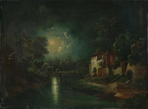 Stredoeurópsky autor z polovice 19. storočia - Romantická nočná krajina s riekou