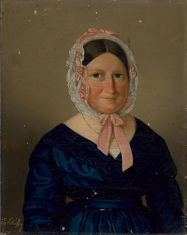 Stredoeurópsky autor z polovice 19. storočia – Portrét starej dámy v bielom čepci