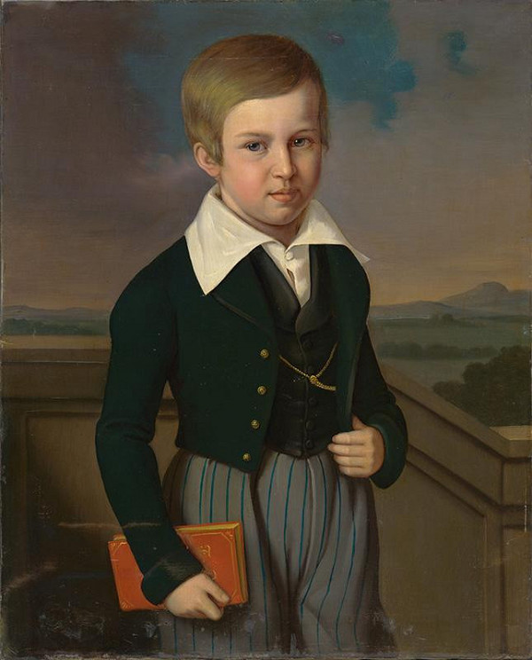 Carl Teibler - Portrét chlapca s knihou