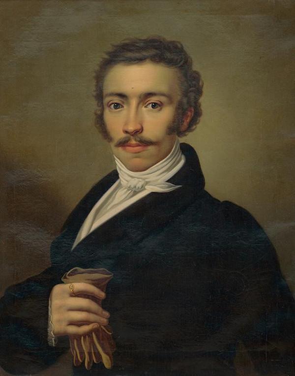 Stredoeurópsky maliar z 1. polovice 19. storočia - Portrét muža s rukavicami