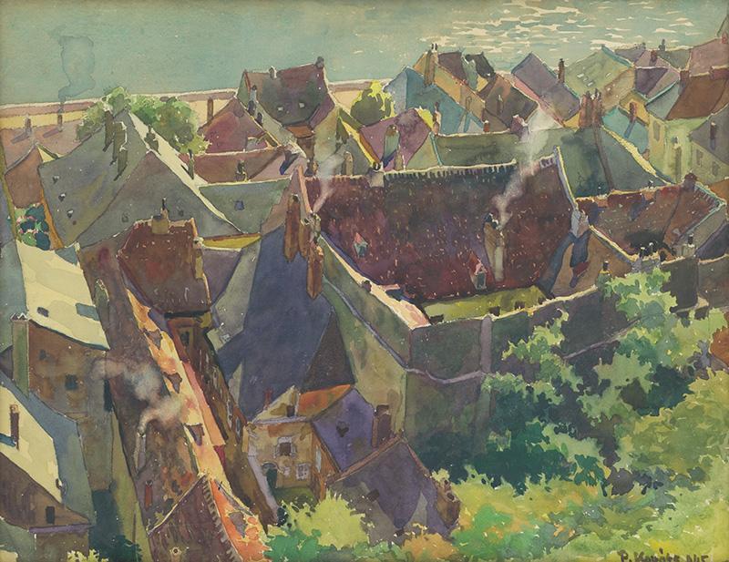 Pavol Kováts – Bratislavské strechy na Zuckermandli, 1945, Galéria mesta Bratislavy