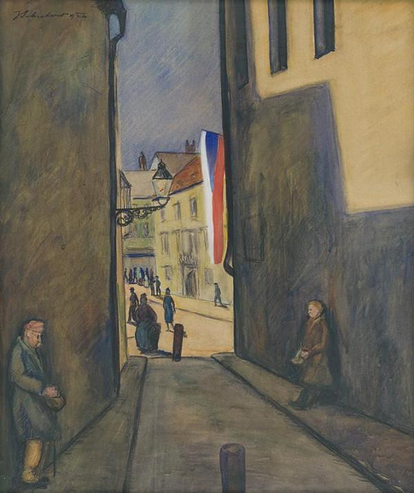 Július Schubert – Kostolná ulica v Bratislave
