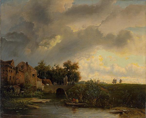 Anna Schlemlein – Krajina s mostom a figurálnou štafážou