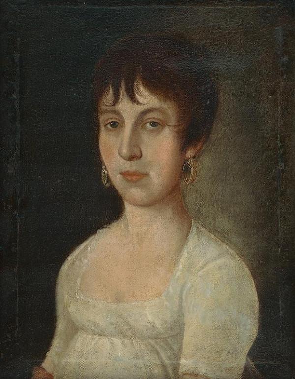 Stredoeurópsky autor zo začiatku 19. storočia - Portrét ženy v bielych šatách