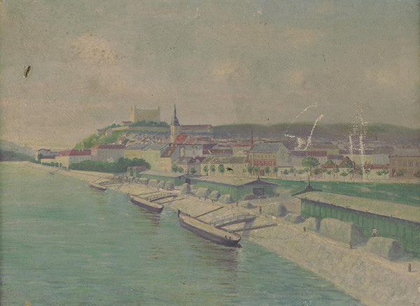 Stredoeurópsky maliar z 1. štvrtiny 20. storočia, P.L. Monogramista - Pohľad na Bratislavu od Dunaja