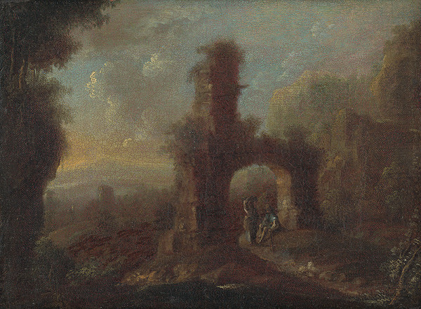 Rakúsky maliar okolo polovice 18. storočia – Krajina so zrúcaninou a  figurálnou štafážou