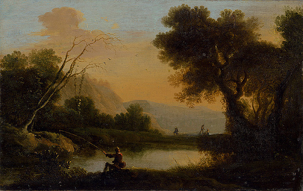 Nemecký maliar okolo polovice 18. storočia, Herman van Swanevelt - Krajina s rybárom