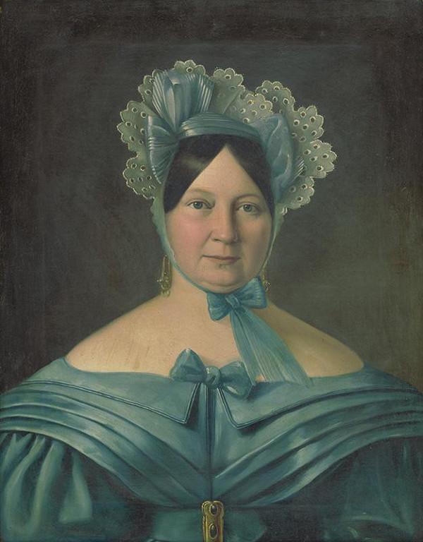 Stredoeurópsky maliar z 1. polovice 19. storočia - Portrét dámy v modrých šatách s čepcom na hlave