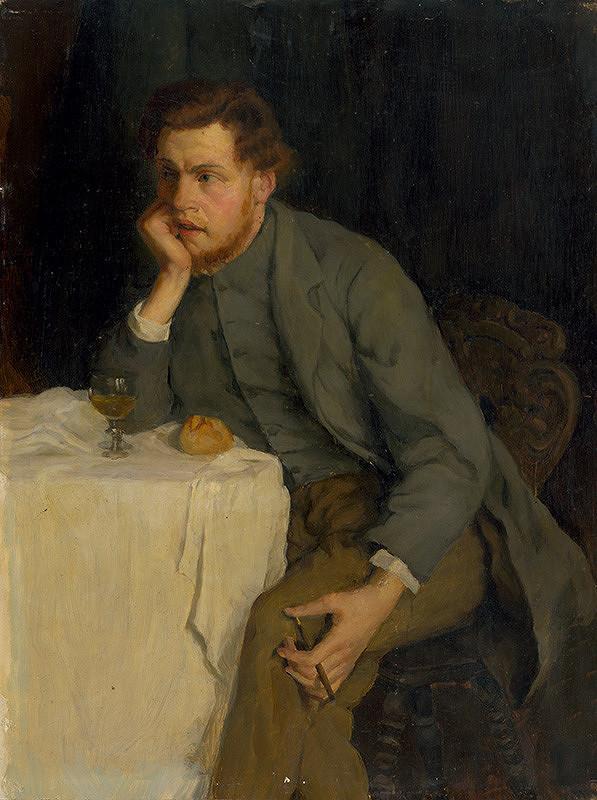 Wilhelm Maria Hubertus Leibl – Muž sediaci pri pohári vína