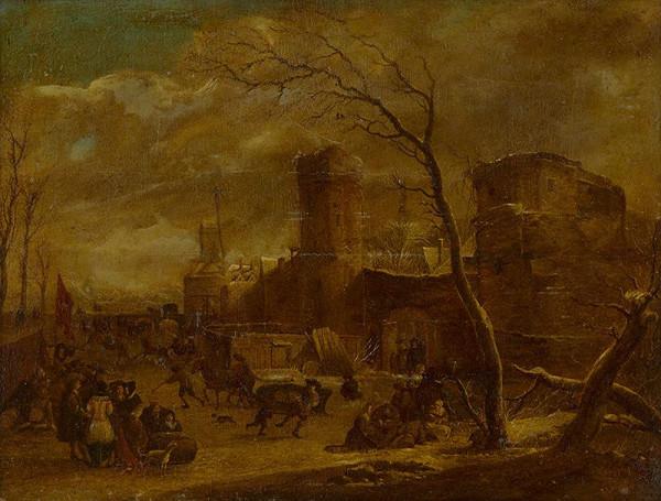 G.B. Monogramista, Holandský - Harlemský maliar z 2. polovice 17. storočia - Zimná krajina so štafážou