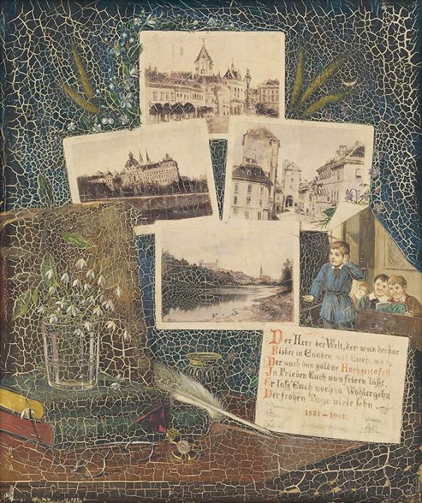 Eduard Majsch - Obraz s pohľadnicami a básničkou k zlatej svadbe