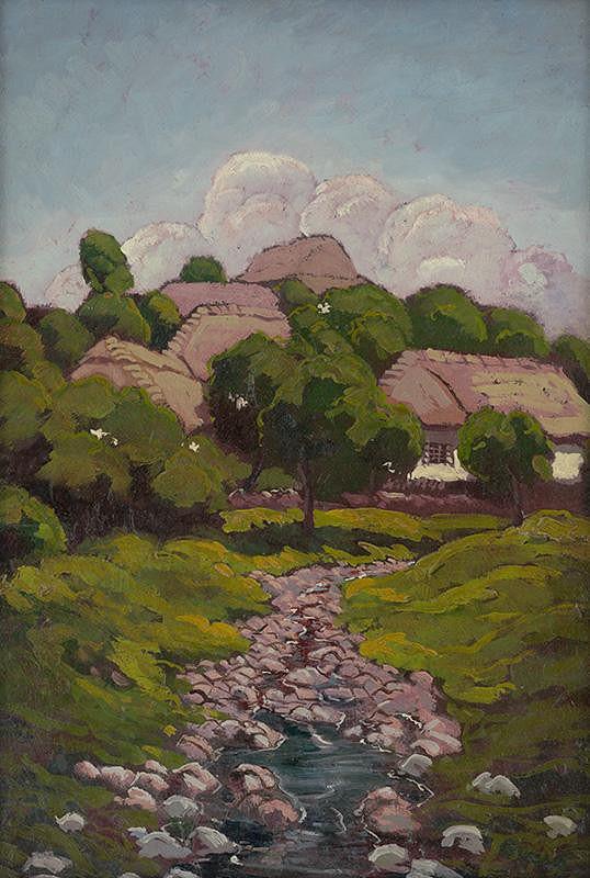Edmund Gwerk – Krajina s dedinským potokom