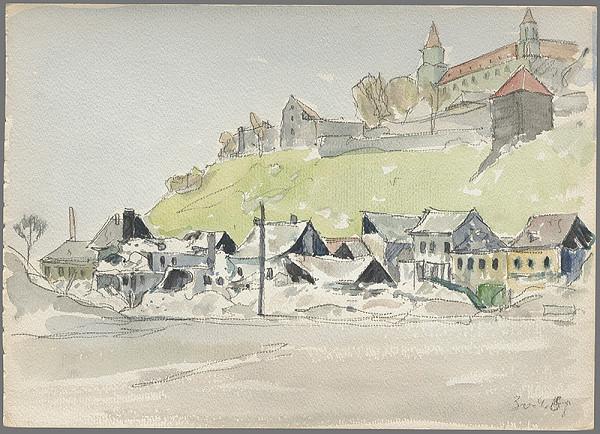Imrich Weiner-Kráľ - Bratislavský hrad s domami podhradia