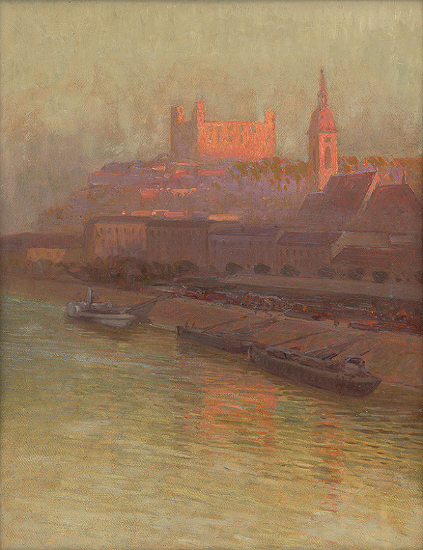 Slovenský maliar zo začiatku 20. storočia - Nábrežie Dunaja s Bratislavským hradom