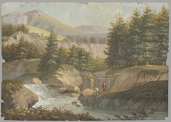 Stredoeurópsky maliar z 1. štvrtiny 19. storočia – Horská krajina s vodopádom