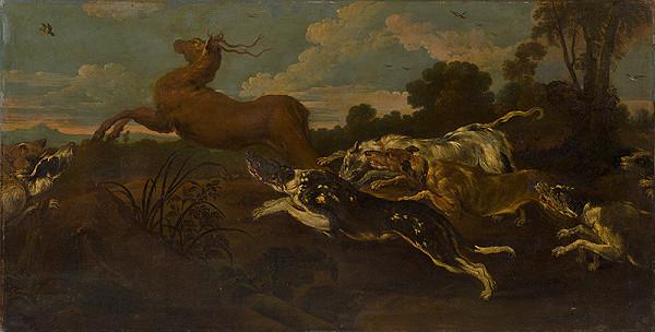 Rakúsky maliar z 2. polovice 19. storočia, Johann Elias Ridinger – Poľovačka na jeleňa
