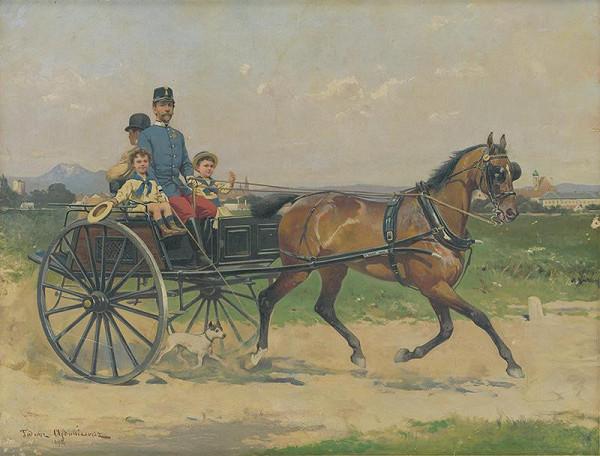 Tadeusz Ajdukiewicz - Dôstojník s deťmi v bričke