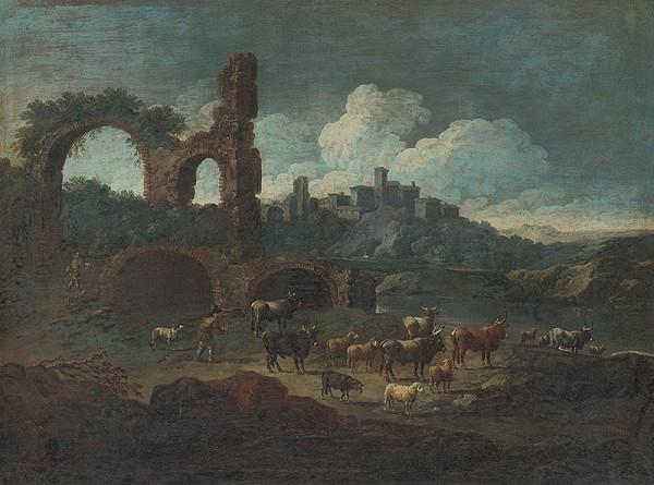 Holandský maliar z konca 17. storočia, Taliansky maliar zo začiatku 18. storočia - Krajina so zrúcaninami a pastierom dobytka