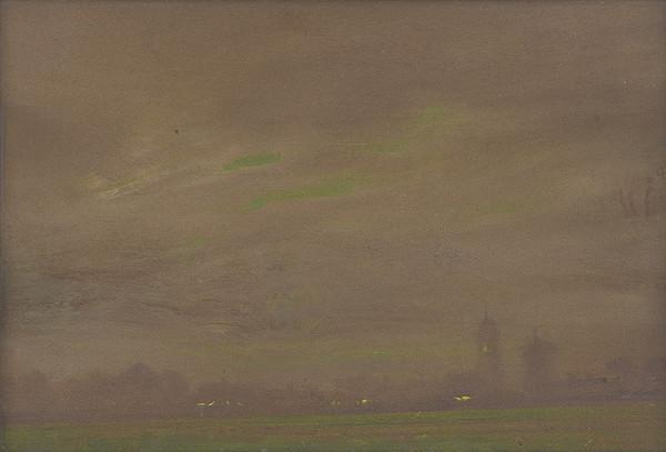 Ferdinand Katona – Pohľad na večernú krajinu s dvoma vežami