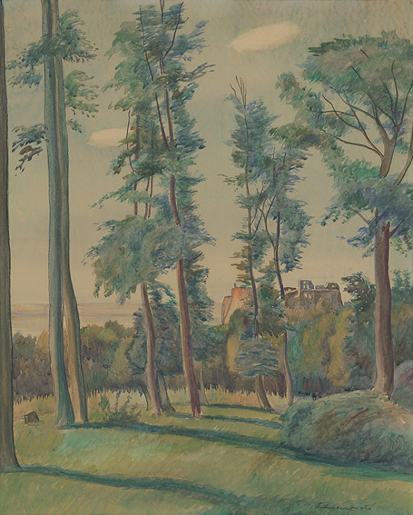 Július Schubert – Les - krajina so zrúcaninou