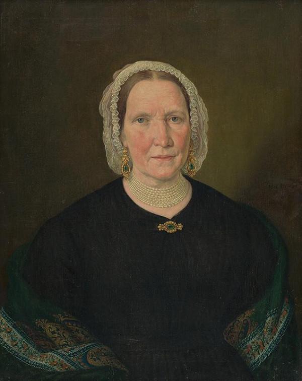 Johann Nepomuk Höfel – Portrét ženy v čiernych šatách