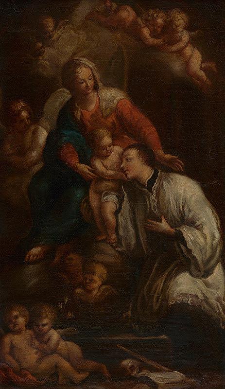 Rakúsky maliar z 1. polovice 18. storočia - Sv. Alojz Gonzaga adorujúci Pannu Máriu s dieťaťom