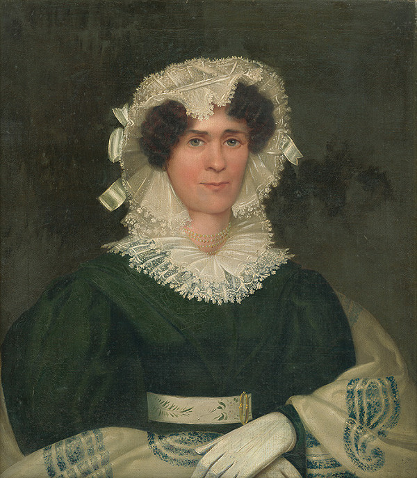 Stredoeurópsky maliar zo 40. rokov 19. storočia - Portrét dámy v tmavozelených šatách