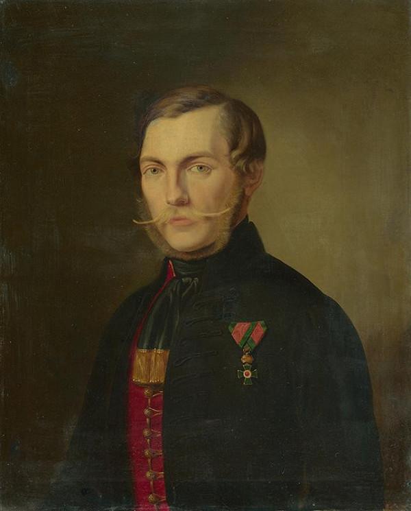 Stredoeurópsky maliar z polovice 19. storočia – Portrét mladého muža s rytierskym krížom svätého Štefana