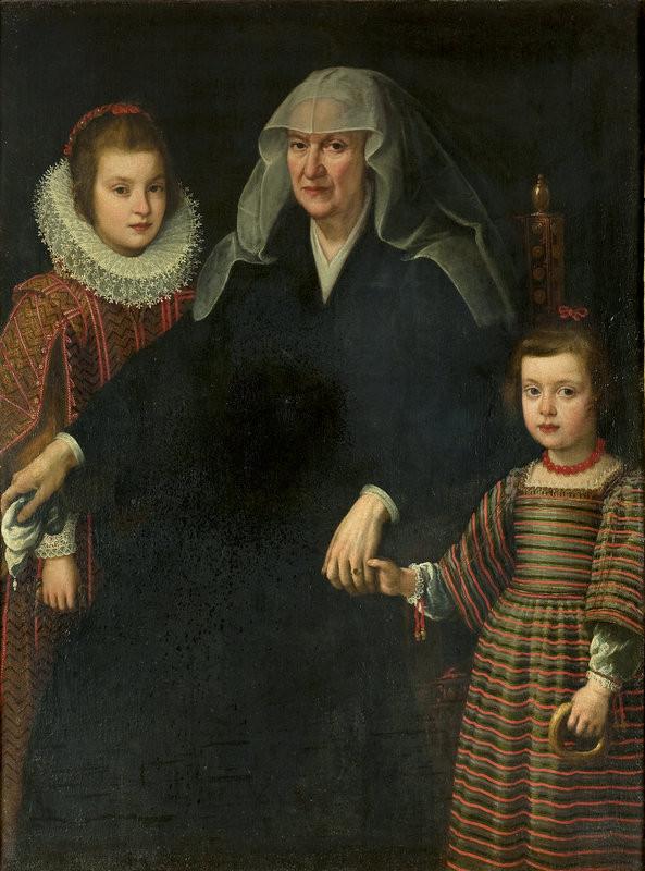 Severotaliansky maliar – Kristína Lotrinská s vnučkami, dcérami Cosima II., po 1621, Galéria mesta Bratislavy