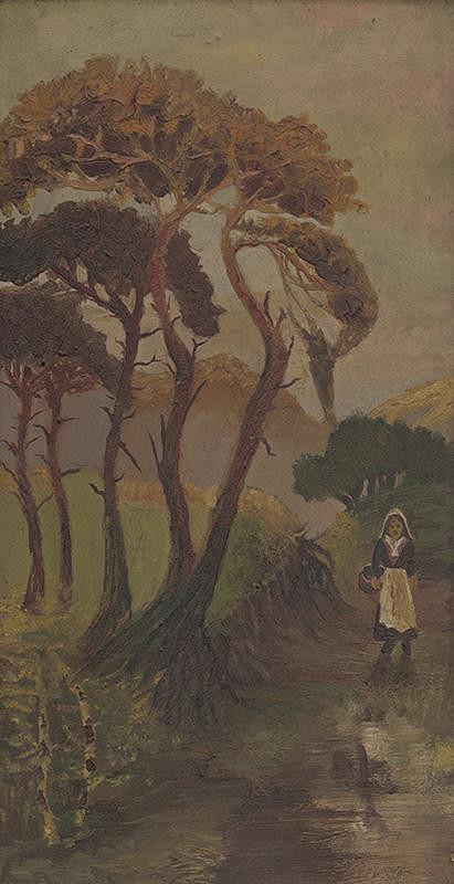 Stredoeurópsky maliar z prelomu 19. - 20. storočia, Gejza Zierer - Krajinka s pocestnou