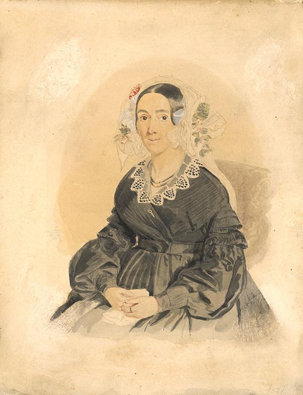 Károly Sterio – Portrét dámy v bielom čepci