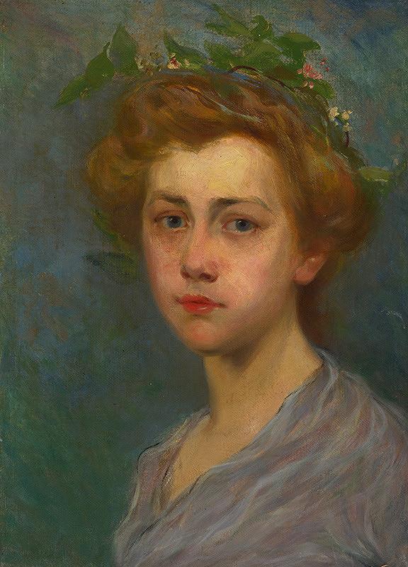 Stredoeurópsky maliar z 1. polovice 20. storočia - Portrét mladej dámy s vencom na hlave