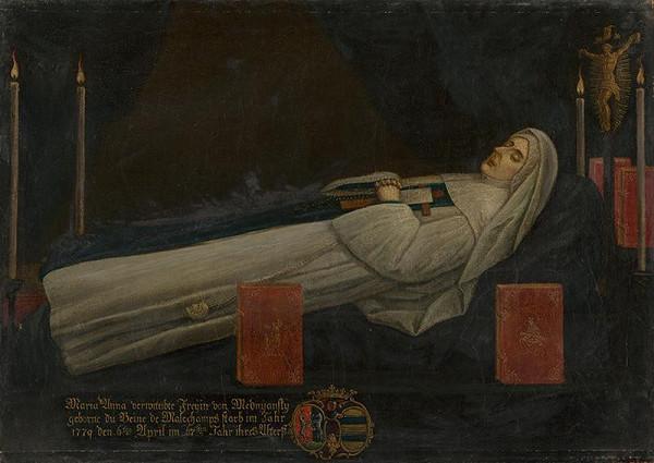 Stredoeurópsky maliar z konca 18. storočia - Posmrtný portrét Márie Anny Mednyánszkej