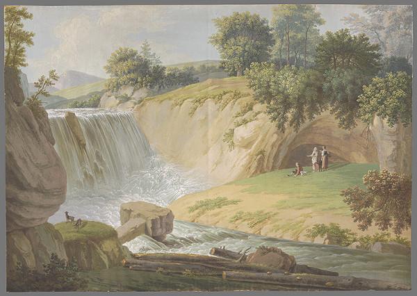 Stredoeurópsky maliar z 1. štvrtiny 19. storočia - Krajina s vodopádom a figurálnou stafážou