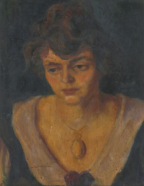 Stredoeurópsky maliar z 1. polovice 20. storočia – Portrét dámy s medailónom
